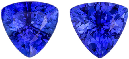 Hard to Find Perfect Blue Sapphire Trillions Matched Gemstone Pair in Rich Blue, Trillion Cut, 5.5 mm, 1.50 carats