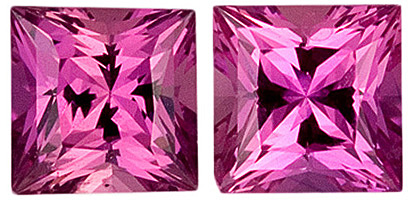 Clean Sapphire Well Matched Pair in Princess Cut, Rich Pink, 4 mm, 0.81 carats