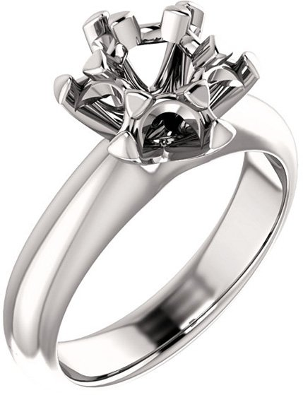 Cluster Ring Mounting for Round Shape Centergem Sized 3.50 mm to 5.50 mm - Customize Metal, Accents or Gem Type
