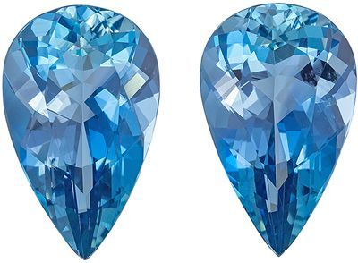 Collector Ultra Fine  Aquamarine Perfect Pair, 16 x 9.9 mm, Super Fine Rich Blue Color in Pear Cut, 10.19 carats