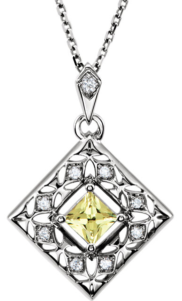 Color .233ct 3.5mm Pop Canary Yellow Sapphire Pendant With Diamond Accents in 14k White Gold - 3.5mm Square - FREE Chain