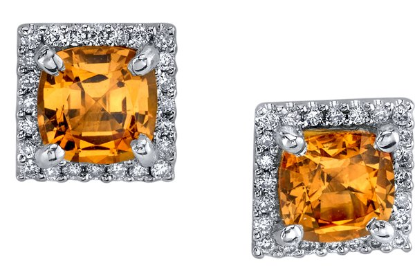Color Pop 5.80 mm Princess Cut Spessartite Garnet Diamond Halo Stud Earrings in 18kt White Gold - Hand Made