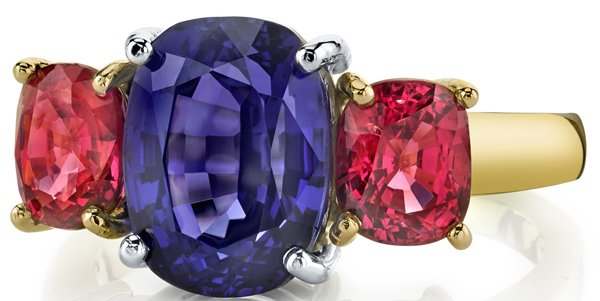 Color Pop Cushion Tanzanite & Spinel 3-Stone Designer Ring in 18kt White, Rose & Yellow Gold