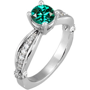 Color Pop Ring! - Sculpted Style Blue Green Tourmaline Solitaire Engagement Ring - Dazzling Diamond Accents - SOLD