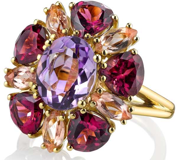 Colorful Andrew Sarosi Flower Style 18kt Yellow Gold Cocktail Ring With Rose De France Center (10x8)  Garnet & Topaz Petals