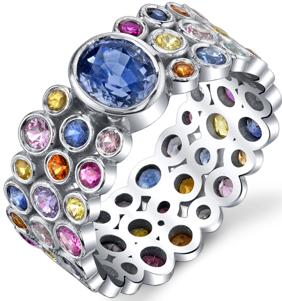 Colorful Bezel Set Multicolored Sapphire Triple Band Chunky Ring - 1.18ct Oval Blue Sapphire Center