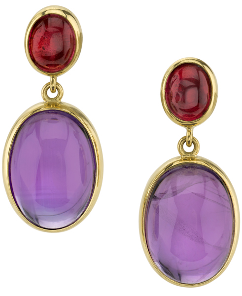 Colorful Cabochon 18kt Yellow Gold Post Back Dangle Earrings - Amethyst & Pink Tourmaline Gems