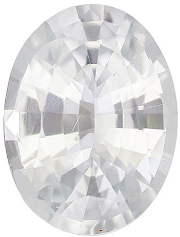 Colorless White Ceylon Sapphire Loose Gemstone in Oval Cut in Calibrated 8 x 6 mm, 1.45 carats