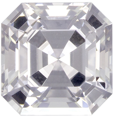 Colorless White Sapphire Genuine Ceylon Gem in Square Cut, 6 mm, 1.4 Carats