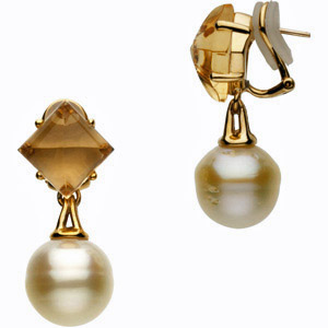 Comfortable and Fancy Clip-On Earrings with Citrine Gems and 42.5ct 10-12mm Circle Shaped Paspaley South Sea Cultured Pearls