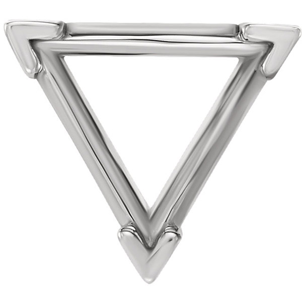 Contemporary 14kt Gold 3-Prong V-End Setting for Triangle Shape Gemstone Sized 3.00 mm to 12.00 mm