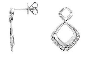 Contemporary and Chic 14k White Gold Post Back Dangle Earrings With an Open Square Shape and  .1 ct .9-1mm Diamond Accents