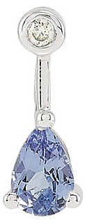 Contemporary and Chic Bar Style Pendant With a .36ct 6x4mm Pear Shape Tanzanite Gem and Diamond Accent - 14k White Gold - FREE Chain With Pendant