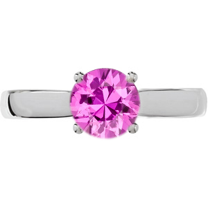 Contemporary Chic 4-Prong Round Solitaire Genuine 1 carat 6mm Pink Sapphire Engagement Ring - Diamond Accents at Base of Prongs