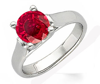 Contemporary Chic & Chunky Solitaire Ring Mount set with Fine 1 carat 6mm Ruby Gemstone - Metal Type Options