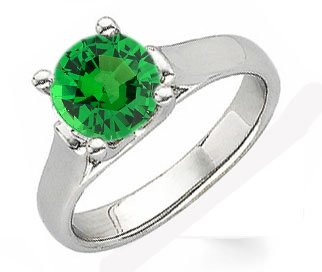 Contemporary Classic - Round 1 carat 6m Tsavorite Garnet Solitaire Gemstone Ring With Chunky 14k Gold Band