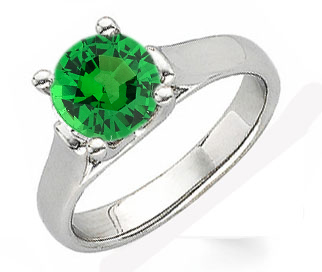Contemporary Classic - Round 1 carat Tsavorite Garnet Solitaire Gemstone Ring With Chunky 14k Gold Band