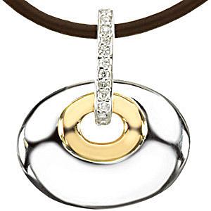 Contemporary Oval Shaped Sterling Silver and Yellow Gold Pendant With.07ct  Diamond Loop and Brown Leather Cord