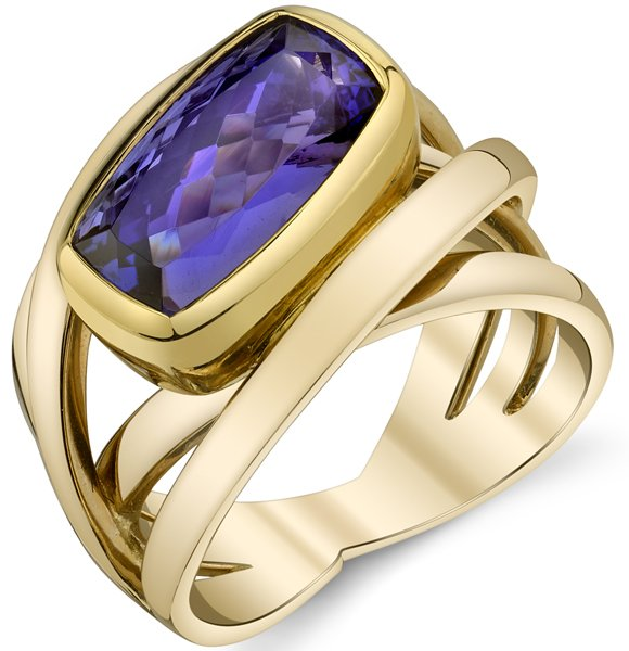 Contemporary Overlapping Tanzanite 4-Band 18kt Yellow & Rose Gold Ring With Bezel Set 6 carat Cushion Tanzanite Gem