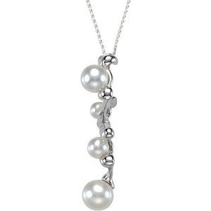 Contemporary Sterling Silver Zig Zag Pendant with Four Freshwater Cultured Pearls Sizrd 5-9.5mm - FREE Chain With Pendant - SOLD