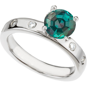 Contemporary Timeless Solitaire Round 0.55ct GEM Grade Alexandrite & Diamond Engagement Ring