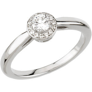 Continuum Silver .06 CTW Diamond Halo-Style Engagement Ring