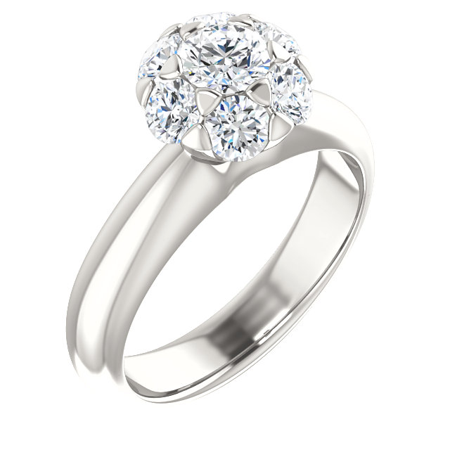 Great Buy in Continuum Sterling Silver 0.20 Carat Total Weight Diamond Cluster Engagement Ring