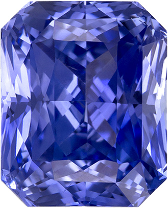 Cornflower Blue Sapphire Genuine Ceylon Gem in Radiant Cut, 8.2 x 6.7 mm, 3.25 Carats