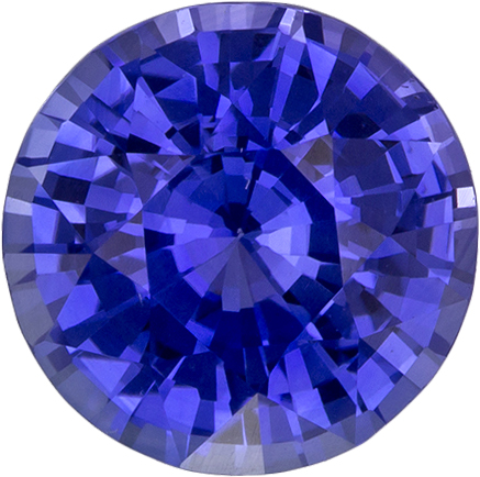 Cornflower Blue Sapphire Genuine Ceylon Gem in Round Cut, 7.4 mm, 2.01 Carats
