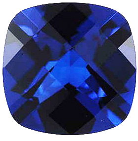 Created Imitation Blue Sapphire Gemstone, Antique Square Shape, 12.00 mm in Size