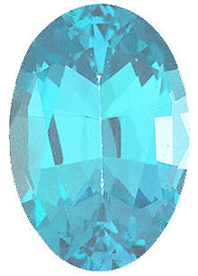 Created Imitation Blue Zircon Gemstone, Oval Shape, 10.00 x 8.00 mm in Size