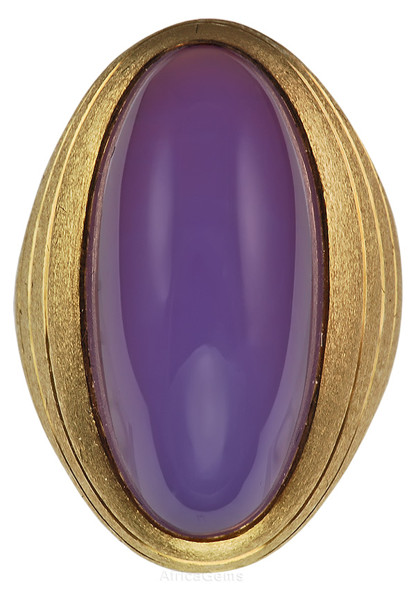 Creative Gorgeous Purple Oval Chalcedony Cabachon Custom Gemstone Ring for SALE - SOLD