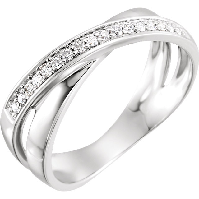 Low Price on 14 KT White Gold 0.17 Carat TW Diamond Criss-Cross Ring Size 8