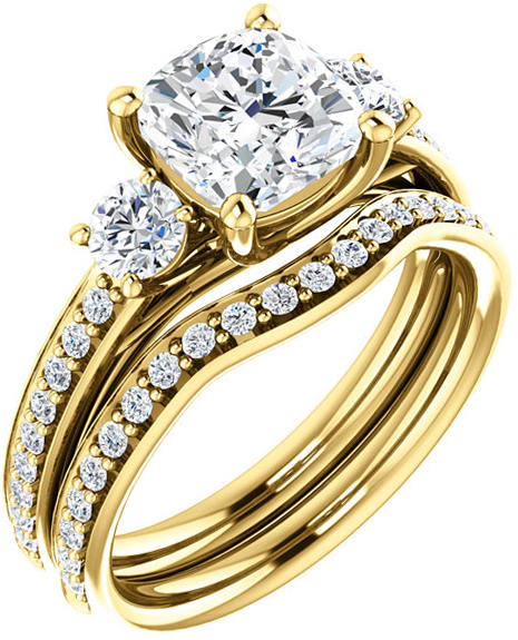Cushion 3-Stone Engagement Mounting for 5.00 mm to 9.00 mm Center Gem, 2 Round Sidegems - Customize Metal, Accents or Gem Type