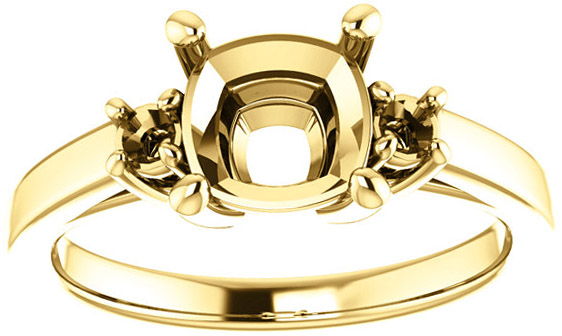 Cushion 3-Stone Ring Mounting for Shape Centergems Sized 5.00 mm to 10.00 mm, Round Side Gems - Customize Metal, Accents or Gem Type