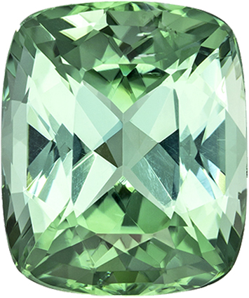 Cushion Cut Minty Blue Green Tourmaline Gemstone in Stunning Color, 11.2 x 9.3 mm, 4.82 carats