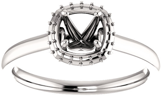 Cushion Halo Style Engagement Ring Mounting for 5.00 mm - 10.00 mm Center - Customize Metal, Accents or Gem Type