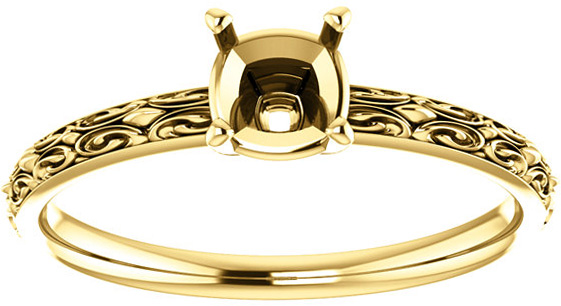 Cushion Sculptural Style Solitaire Ring Mounting for 5.00 mm - 15.00 mm Center - Customize Metal, Accents or Gem Type
