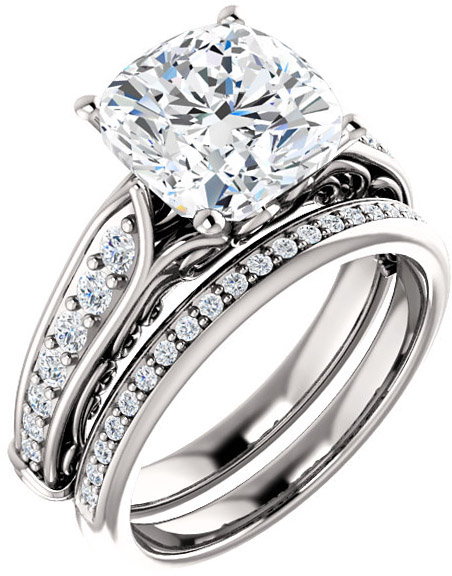Cushion Solitaire Engagement Ring With Scroll Details & Accents  Gemstone Size 5mm to 9mm