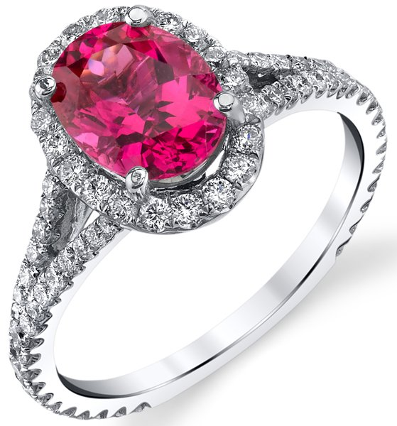 Custom 2.63 carat Pink Spinel 18kt White Gold Micro Pave Split Shank Halo Ring - 2.63ct Oval Pink Spinel Center