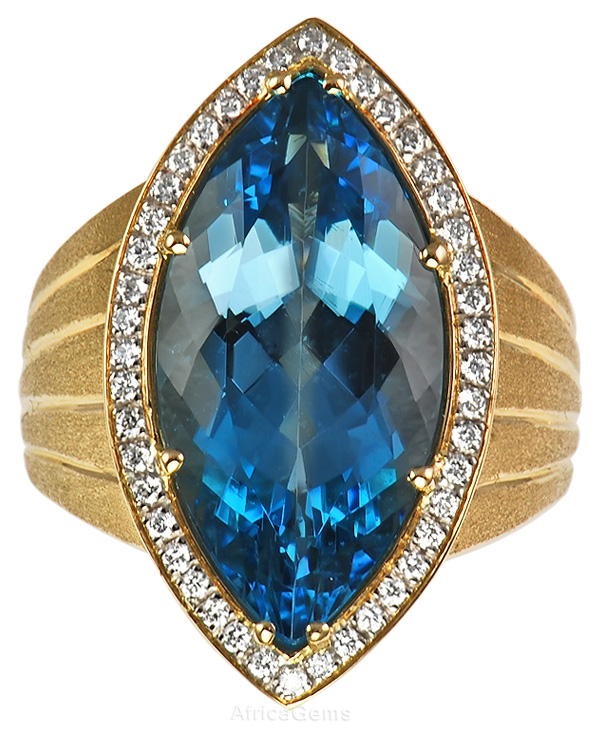 Custom Gemstone Ring with Incredible Blue Aquamarine  - SOLD