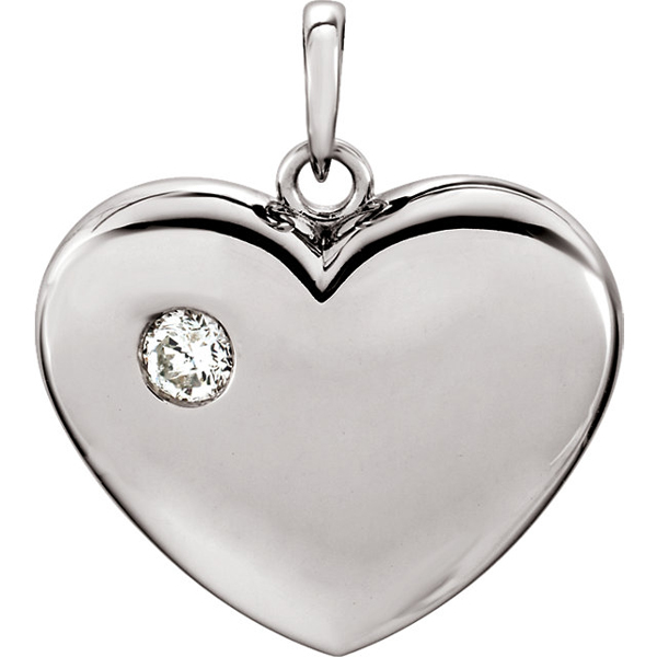 Cute 14k Gold Solid Heart Pendant With Single Inset Diamond Accents - 1/6 ct tw - FREE Chain