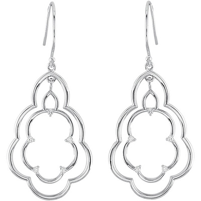 Cute and Dainty Sterling Silver Wire Back Dangle Earrings for SALE - 10 Diamond Accents - .17 cts, 1.50 mm