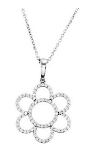 Cute and Pretty Flower Style Diamond Studded 14k White Gold Pendant - FREE Chain Included - SOLD