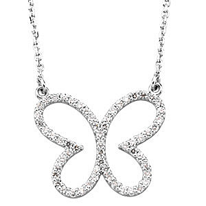 Cute Butterfly .33ct Diamond Studded Pendant in 14k White Gold for SALE