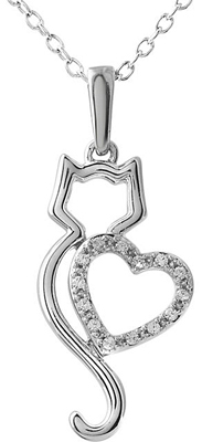 Cute Cat Silhouette Pendant With .05ct .9mm Diamond Heart Outline in Sterling Silver for SALE - Free Chain Included