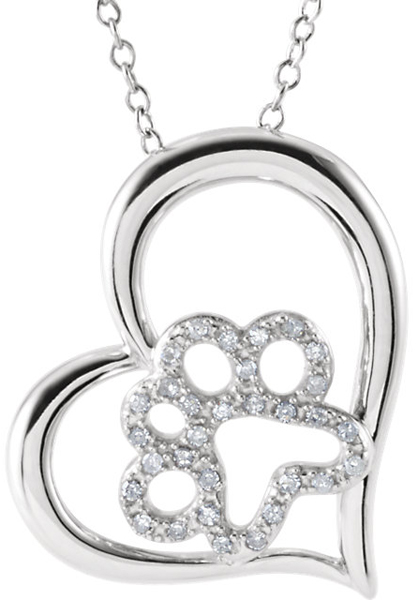 Cute Diamond Heart Paw Pendant in Sterling Silver for SALE - Diamond Accents - FREE Chain - .07 ct