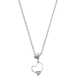 Cute Double Heart Sterling Silver Pendant with .02ct Diamond Accents. - FREE Chain Included