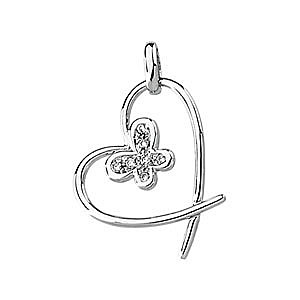 Cute Heart and Butterfly 14k White Gold and Diamond Pendant for SALE - FREE Chain - SOLD