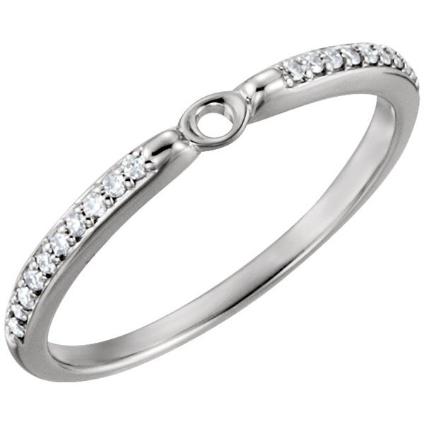 Dainty Diamond Accented Span Cathedral Shank for Peg Setting in 14kt White Gold